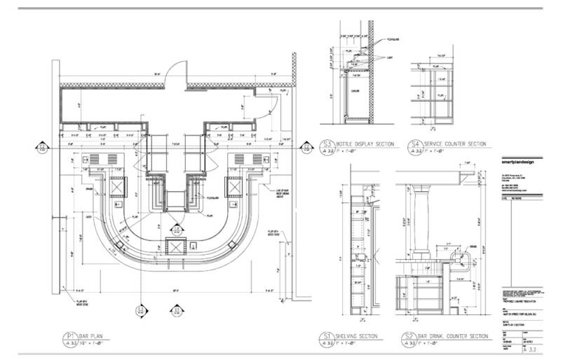 Bar Design Plan Drawings 800x517